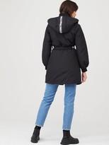 Armani Exchange Caban Coat With Belt - Black
