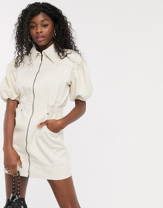 C/Meo Peripheral puff sleeve denim utility mini dress in chalk