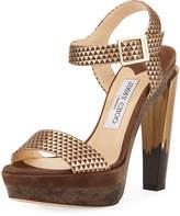 Jimmy Choo Dora Leather Platform Sandal, Silver
