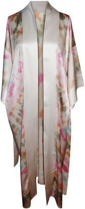 Natalie Begg Silk Robe With Sash Belt Mid-Calf Tie-Dye