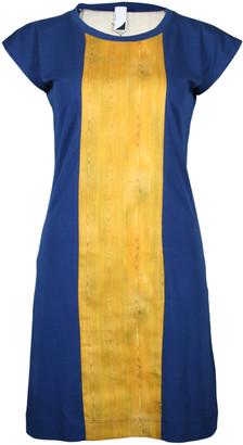 Format PLUM Blue & Wood Single Plain Dress - XS - Blue/Gold/Wood