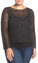 Nic+Zoe 'Brushed Lace' Top (Plus Size)