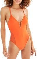 Topshop Strap Mesh One-Piece Swimsuit
