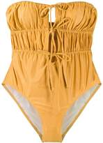 Solid & Striped Paula metallic ruched swimsuit