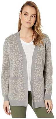 Cupcakes And Cashmere Cheyenne Leopard Jacquard Cardigan (Heather Grey) Women's Clothing