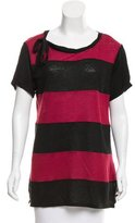 Sandro Bow-Accented Striped T-Shirt