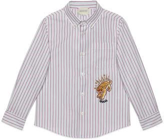 Gucci Multi Stripe Button-Down Shirt w/ Tiger Embroidery, Size 4-12