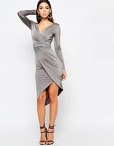 Lipsy Long Sleeve Slinky Asymmetric Dress With Wrap Front
