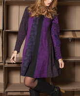 Aller Simplement Purple & Black Geometric Long-Sleeve Swing Dress