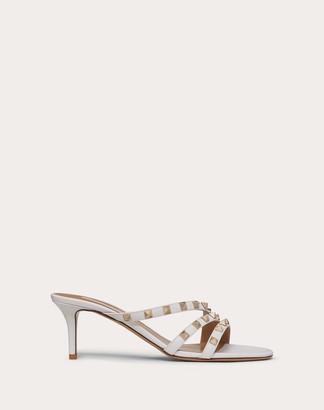 Valentino Rockstud Calfskin Slide Sandal 60 Mm / 2.4 In. Women Optic White 100% Pelle Di Vitello - Bos Taurus 35