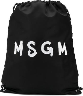 MSGM Logo Drawstring Backpack