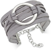 INC International Concepts Silver-Tone Faux-Leather Wrap Bracelet, Only at Macy's