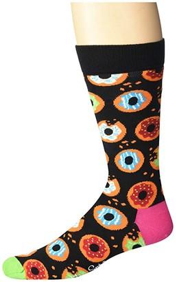 Happy Socks Donut Sock (Black Combo) Men's Crew Cut Socks Shoes