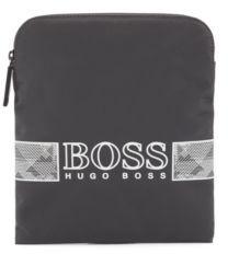 HUGO BOSS Structured Nylon Envelope Bag With Logo Artwork - Dark Grey
