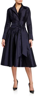 Rickie Freeman For Teri Jon Envelope-Collar Cinch-Waist Full Skirt Taffeta Shirt Dress