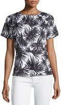 MICHAEL Michael Kors Short-Sleeve Pleated Palm-Print Blouse, Black