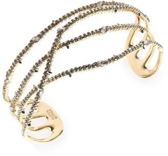 Alexis Bittar 10K Yellow Gold & Crystal Pave Orbiting Cuff Bracelet