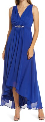Eliza J Embellished High/Low Chiffon Dress