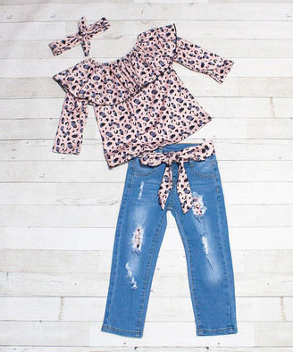 Dress Up Dreams Boutique Girls' Denim Pants and Jeans Taupe/Blue - Taupe & Blue Leopard Ruffle-Yoke Long-Sleeve Top Set - Toddler & Girls