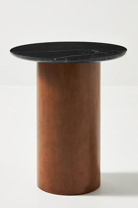 Anthropologie Anya Travertine Side Table By in Black