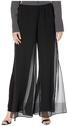 Alex Evenings Chiffon Straight Leg Overlay Pants (Black) Women's Dress Pants