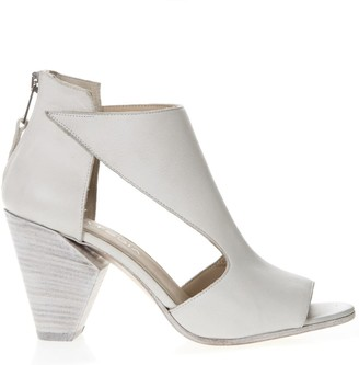 Strategia White Leather Ankle Boots
