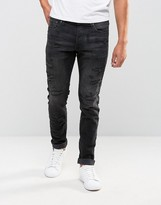 Jack & Jones Intelligence Slim Fit Jeans In Washed Black With Repair Detail