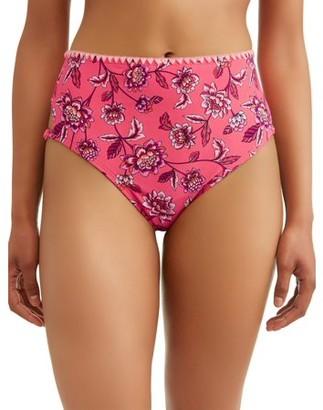 Time and Tru Women's Storybook Romance High Waist Swimsuit Bikini Bottom