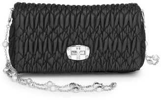 Miu Miu Crystal-Embellished Matelasse Leather Shoulder Bag