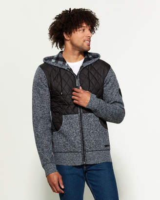 Buffalo David Bitton Worley Quilted Marled Long Sleeve Hoodie