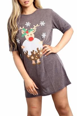 Fashion Star Womens Christmas Reindeer Pudding Tshirt Dress Reindeer Pudding Charcoal Plus Size (UK 20/22)