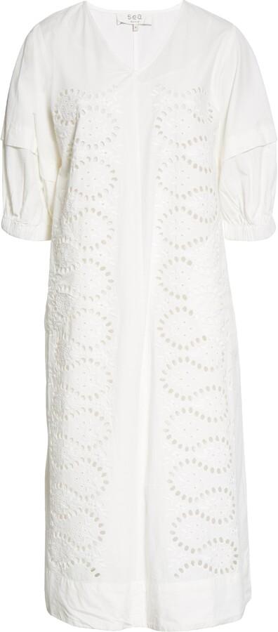 Thumbnail for your product : Sea Marina Relaxed Eyelet Midi Dress