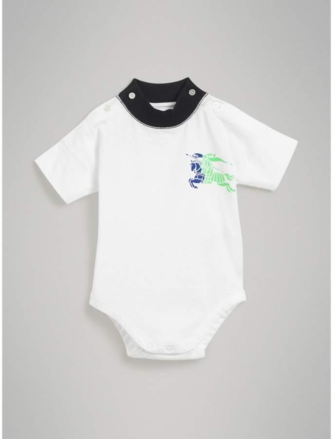 Burberry Childrens Equestrian Knight Print Cotton Bodysuit