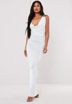 Missguided White Cowl Front Cross Strap Maxi Dress