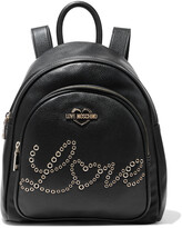 Thumbnail for your product : Love Moschino Eyelet-embellished Faux Textured-leather Backpack