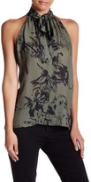 Parker Mock Neck Sleeveless Front Tie Print Blouse
