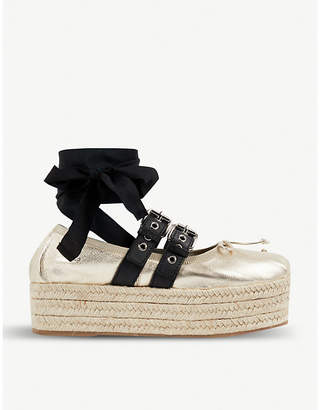 Miu Miu Buckled metallic leather espadrille flatforms