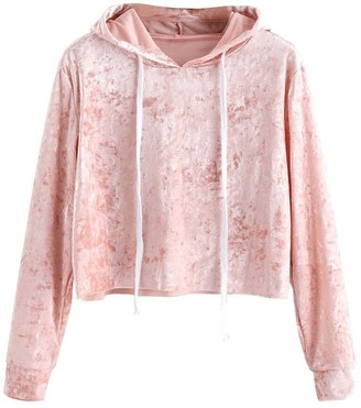 Ulanda Eu Womens Hoodies Ulanda-EU Womens Hoodies Women Long Sleeve Velvet Autumn Sweatshirts Casual Pullover Crop Tops Blouses Hoodie Jumpers Womens Teen Girls (Pink M)