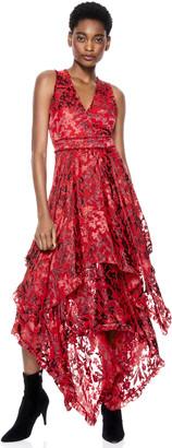 Alice + Olivia Sammi Handkerchief Midi Dress