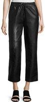 J Brand Jeans Amari Drawstring Leather Pants, Black