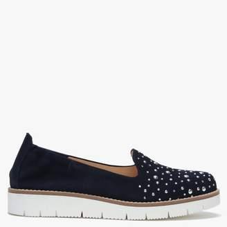 Daniel Yannik Navy Suede Scatter Stud Embellished Loafers