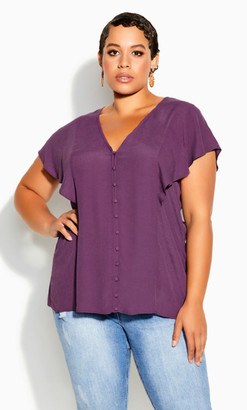 City Chic Button Thru Top - orchid