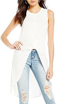 Soprano Knot-Front High-Low Tank Top