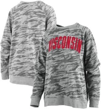 Unbranded Women's Pressbox Camo Wisconsin Badgers Gulfport French Terry Raglan Pullover Sweatshirt