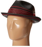 Stacy Adams Polybraid Pinch Front Fedora with Contrast Tie Band Fedora Hats