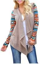 AuntTaylor Women Floral Printed Chiffon Tassel Fringe Shawl Kimono Cardigan MC M