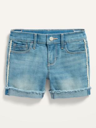 Old Navy Light-Wash Side-Lace Frayed-Hem Jean Midi Shorts for Girls