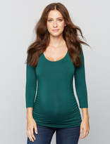 A Pea in the Pod Scoop Neck Side Ruched Knit Maternity Tee