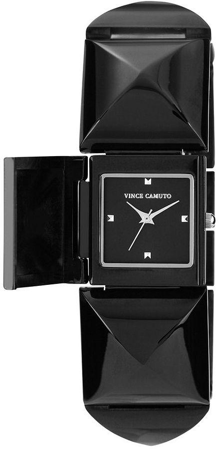 Vince Camuto Watch, Women's Black Tone Adjustable Pyramid Covered Link Bracelet 25x22mm VC-5027BKBK