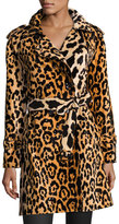 Libertine Leopard-Print Velvet Trenchcoat, Yellow/Black